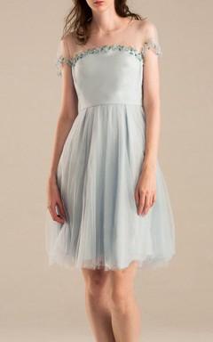 Mini Knee-length Chiffon Dress With Flower