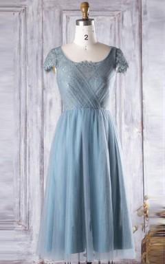 A-line Tea-length Scoop Cap Sleeve Tulle&Lace Dress
