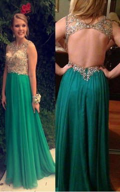 Floor-length Chiffon Sleeveless Beading Backless Dress