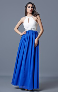 Halter Beaded Long Chiffon Dress With Key-hole