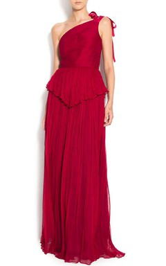 One-shoulder Dress With Pleats