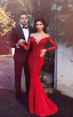 Sexy Red Long Sleeve Lace 2016 Evening Dress Mermaid Zipper Button Back