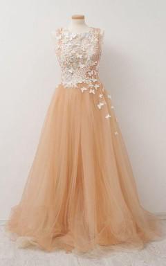 Sleeveless A-line Long Pleats Lace Appliques Dress