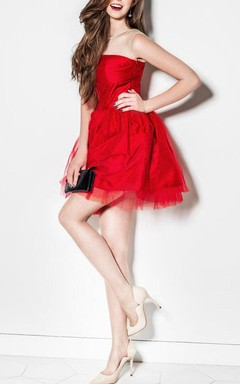New Years Eve Red Mini Tulle Dress