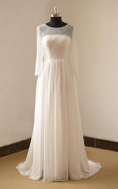 Jewel Neck Long Sleeve A-Line Chiffon Wedding Dress With Open Back