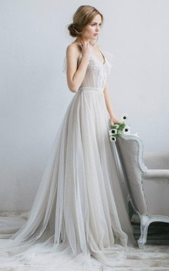 A-Line V-Neck Tulle Illusion Dress With Pleats
