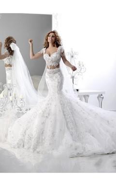 Hot Sale Cap Sleeve Arabian Mermaid Wedding Dress Lace Appliques