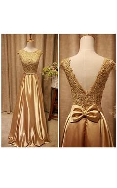 Sleeveless Bow Sash Lace Satin Dress