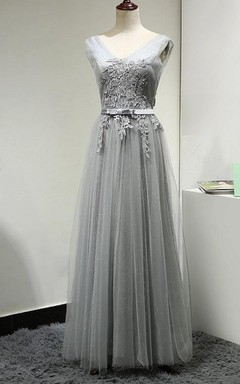 Pleated Tulle Dress With Appliques and Belt
