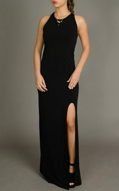 Black Open Back Maxi Sexy Slit Evening Formal Bridesmaid Evening Gown Cocktail Designer Dress