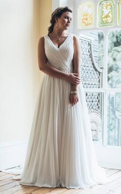 A-Line Long V-Neck Sleeveless Chiffon Court Train Waist Jewellery Dress