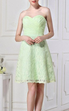 A-line Mini Strapped Sweetheart Lace Dress With Button&Zipper