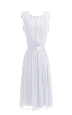 Sleeveless Knee-length Pleated Layered Chiffon Dress
