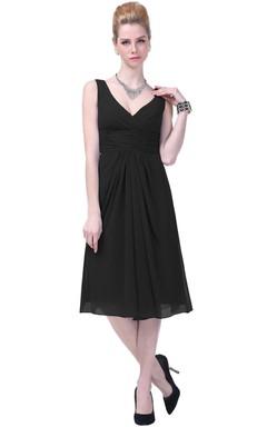Elegant V-neck Chiffon Dress With Ruching