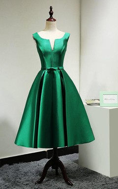 Vintage Lace-up Satin Bridesmaid Dress