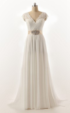 Cap Sleeve Sweep Train Chiffon Lace Dress With Low-V Back