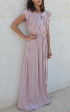 Fall Blush Bridesmaid Symmetrical Folds On Neckline Floor Length Bridesmaid Dress