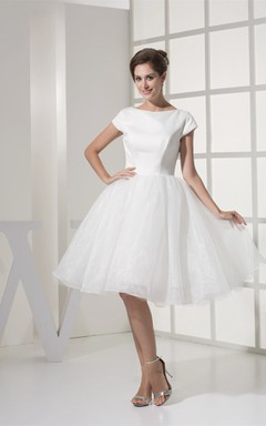 Short-Sleeve A-Line Midi Gown with Pleats