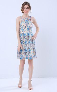 Printed Halter Neck Short Dress with Keyhole Back