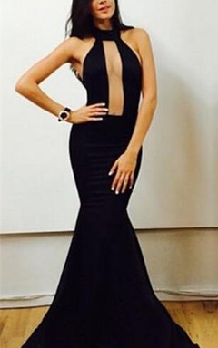 Sexy Black High-Neck Mermaid Prom Dresses 2016 Floor Length Evening Gowns