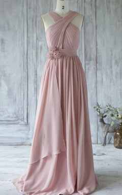 Long Chiffon Dress With Flower