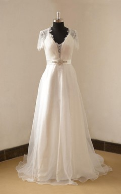 V-Neck Organza Long A-Line Wedding Dress With Beading Sash