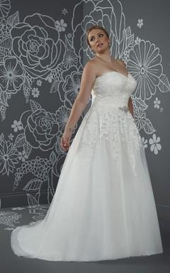 A-Line Long Sweetheart Sleeveless Satin Court Train Corset Back Waist Jewellery Dress