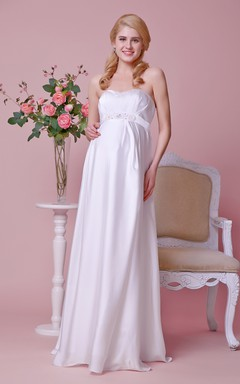 Strapless A-line Chiffon Gown With Empire Beading Waist