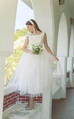 1950S Vintage Tulle Wedding Dress With Lace Bodice and Pleats