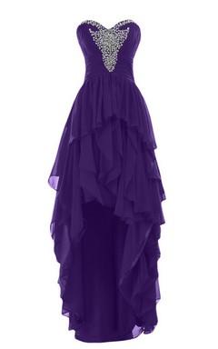 Sweetheart High-low Tiered Chiffon Dress With Beadings