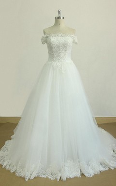 A-Line Off-The-Shoulder Chapel Train Tulle Lace Satin Dress