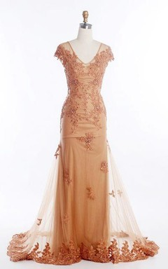 Cap Sleeve V-neck Long Mermaid Dress with Appliques