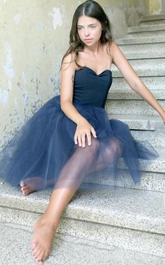 Short Tea-length Strapped Tulle Dress