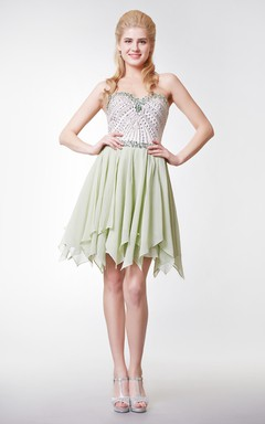 Lovely Beaded Bodice Short Dress with Jewel Embellishment