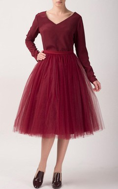 Cherry Tulle Tutu Skirt Tea Length Dress