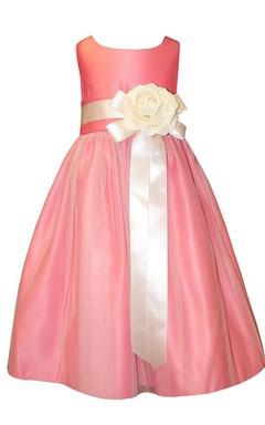Sleeveless A-line Dress With Floral Waist