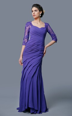 Stylish Illusion Three Quarter Lace Sleeve Floor Length Chiffon Dress With Draped Detail