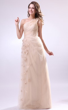 Pleated Asymmetrical One-Shoulder Dress With Soft Tulle And Flower