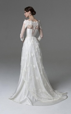 Unique Lace Overlaying Satin Wedding Dress With Bateau Neck