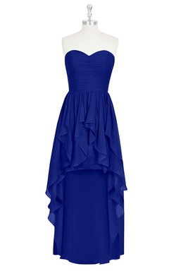 Sweetheart Chiffon Floor Length Dress With Ruffles and Pleats