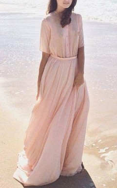 Chiffon&Lace Dress With Lace-up Back