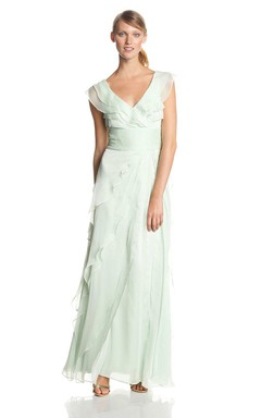 Cap-sleeved Layered and Ruffled Chiffon Gown