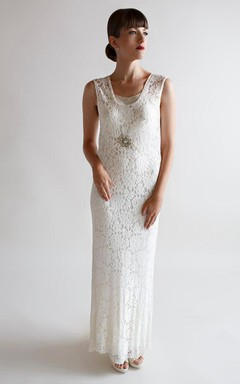 1930S Deco Wedding Gown Vintage Lace Wedding Dress