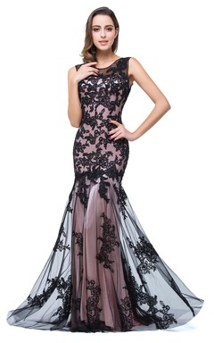 Glamorous Sleeveless Lace Mermaid Evening Dress 2016 Tulle Long Prom Gown