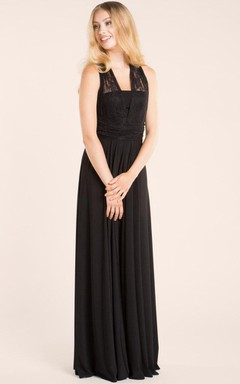 Floor-length Lace&Jersey&Satin Dress