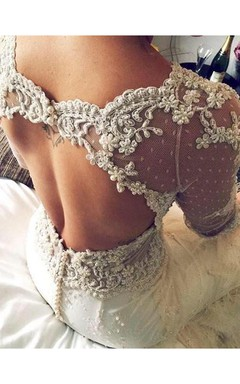 Gorgeous 3 4 Sleeve Fill Lace Wedding Dress 2016 Mermaid With Feather