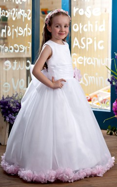 Cute High-Neck Sleeveless Flower Girl Dress With Bowknot