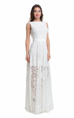 Wedding White Lace Beautiful Long Open Back Evening Dress
