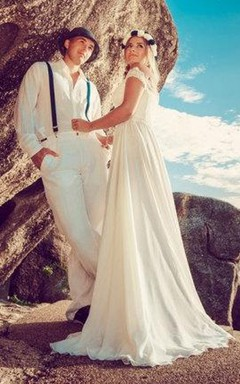 Off-The-Shoulder Lace Beach Chiffon Split Front Wedding Dress With Lace