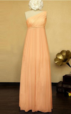 One-shoulder Chiffon&Satin Dress With Pleats&Ruching